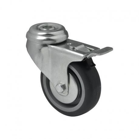 Zestaw z hamulcem mocowany na otwór poliamid guma szare fi 50