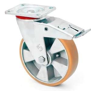 Zestaw obrotowy z hamulcem aluminium poliuretan fi 200 mm - 600kg
