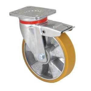 Zestaw obrotowy z hamulcem aluminium poliuretan fi 125 mm - 500kg