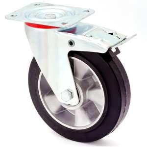Zestaw obrotowy z hamulcem koło aluminium-guma fi 200