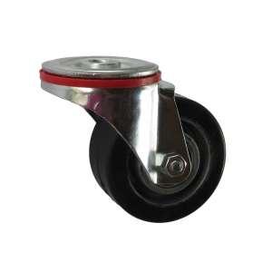 Koło obrotowe aluminiowo gumowe fi 80 mm mocowane na śrubę