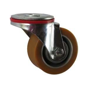 Koło obrotowe aluminium - poliuretan fi 100 mocowane na śrubę