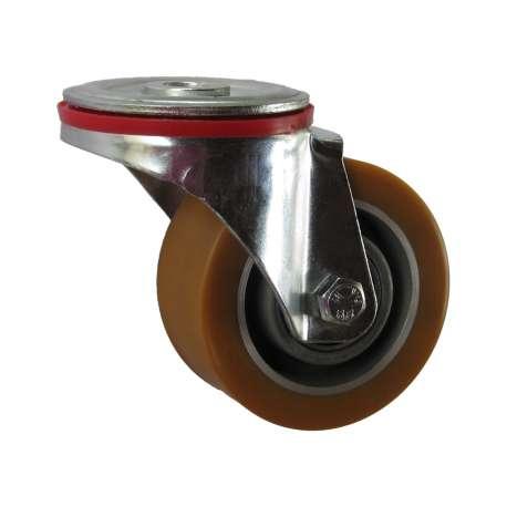 Koło obrotowe aluminium -poliuretan fi 100 mocowane na śrubę