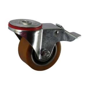 Koło obrotowe aluminium - poliuretan fi 100 mm z hamulcem mocowane na śrubę
