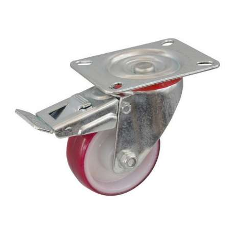 Koło poliamidowo - poliuretanowe fi 80 mm na widelcu obrotowym z hamulcem