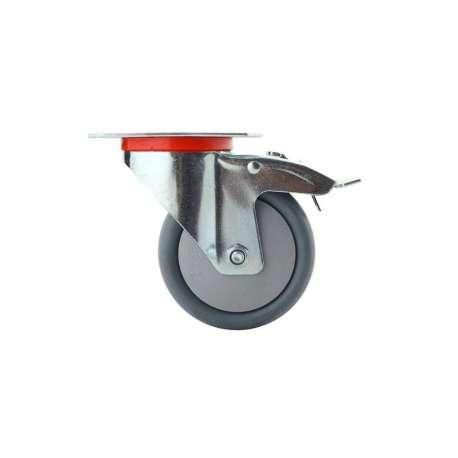 Koło polipropylenowo - gumowe fi 125 mm w obudowie skrętnej z hamulcem