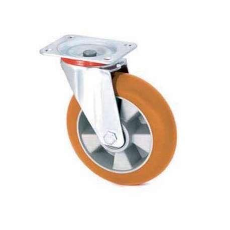 Koło aluminiowo - poliuretanowe fi 200 obrotowe z ergonomiczną bieżnią