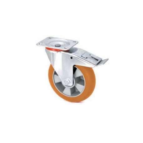 Koło aluminiowo - poliuretanowe fi 125 z hamulcem z ergonomiczną bieżnią
