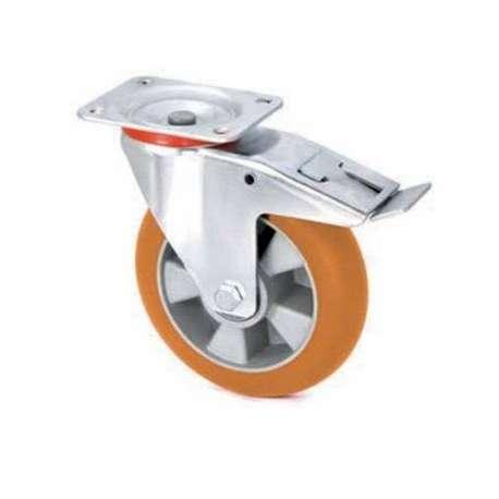 Koło aluminiowo - poliuretanowe fi 200 z hamulcem z ergonomiczną bieżnią