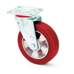 Koło aluminiowo - poliuretanowe o średnicy 100 mm z miękką bieżnią w obudowie obrotowej