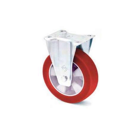 Koło aluminiowo - poliuretanowe o średnicy 125 mm z miękką bieżnią w obudowie stałej