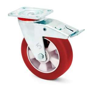 Zestaw obrotowy z hamulcem aluminium poliuretan fi 100 mm z miękką bieżnią