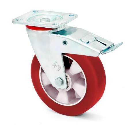 Zestaw aluminium-poliuretan z hamulcem fi 160 mm