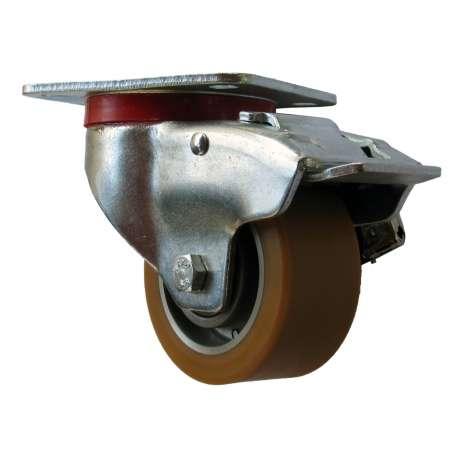 Zestaw aluminium-poliuretan z hamulcem fi 100 mm