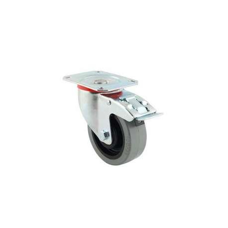 Koło poliamidowo - gumowe z szarą oponka fi 100 mm obrotowe z hamulcem