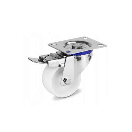 Zestaw kołowy nierdzewny obrotowy z hamulcem fi 100 mm