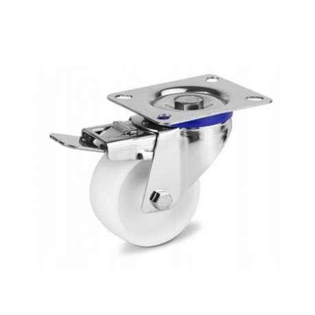 Zestaw kołowy nierdzewny obrotowy z hamulcem fi 160 mm