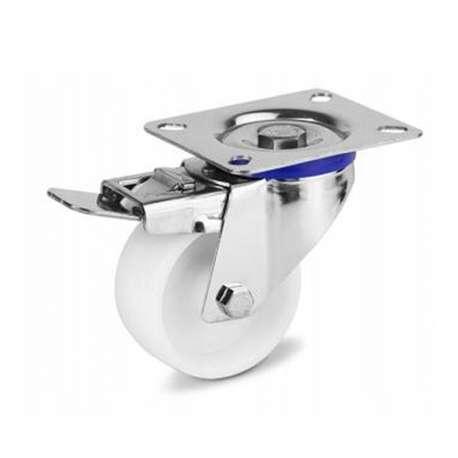 Zestaw kołowy nierdzewny obrotowy z hamulcem fi 200 mm