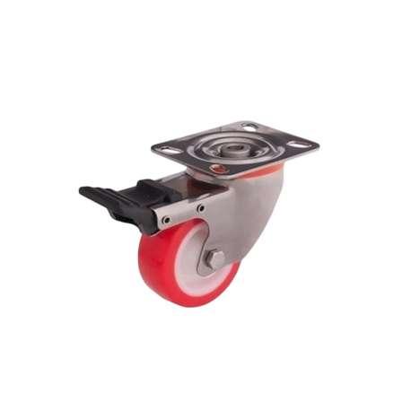 Zestaw kołowy skrętny nierdzewny z hamulcem fi 80 mm