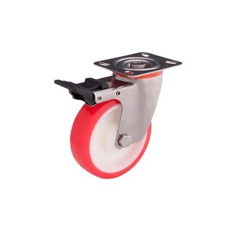 Zestaw kołowy skrętny nierdzewny z hamulcem fi 100 mm