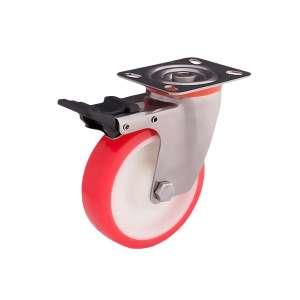 Zestaw kołowy skrętny nierdzewny z hamulcem fi 150 mm